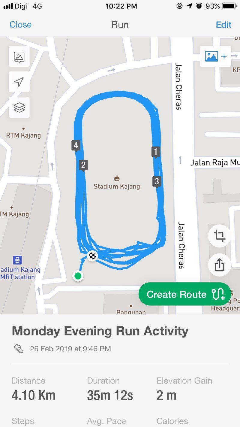 Kajang Stadium Run Trail - Selangor, Malaysia | Pacer
